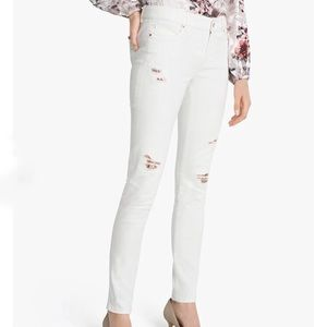 WHBM Destructed Sequin Skinny Ankle Jeans